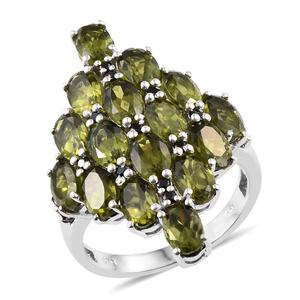 Vesuvianite, Thai Black Spinel Platinum Over Sterling Silver Ring (Size 7.0) TGW 9.40 cts.