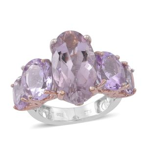 Rose De France Amethyst 14K RG and Platinum Over Sterling Silver Openwork 5 Stone Statement Ring (Size 11.0) TGW 16.320 cts.