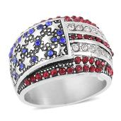 Multi Color Austrian Crystal Stainless Steel USA Flag Ring (Size 8.0) TGW 5.00 cts.