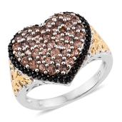 Jenipapo Andalusite, Thai Black Spinel 14K YG and Platinum Over Sterling Silver Ring (Size 6.0) TGW 2.000 cts.