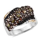 Jenipapo Andalusite, Thai Black Spinel 14K YG and Platinum Over Sterling Silver Ring (Size 5.0) TGW 2.870 cts.