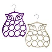 Purple and White Velvet Silvertone Set of 2 Owl Scarf Hangers (11 in)