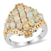 Ethiopian Welo Opal 14K YG and Platinum Over Sterling Silver Ring (Size 6.0) TGW 2.400 cts.