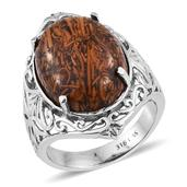 Indian Script Stone Stainless Steel Openwork Ring (Size 6.0) TGW 16.250 cts.