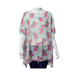 Seafoam with White and Fuchsia Daisy Print 100% Polyester Poncho (One Size)