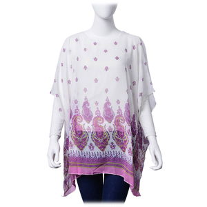 J Francis - White and Purple Damask Print 100% Polyester Poncho (40x28 in)