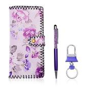 Set of 3 Purple Floral Wallet, Key Chain, Pen Gift Set