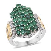 Kagem Zambian Emerald, White Zircon 14K YG and Platinum Over Sterling Silver Ring (Size 10.0) TGW 4.110 cts.