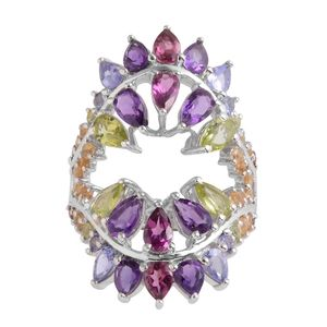 GP Multi Gemstone Platinum Over Sterling Silver Ring (Size 7.0) TGW 4.580 cts.