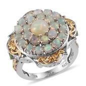Ethiopian Welo Opal, Tsavorite Garnet 14K YG and Platinum Over Sterling Silver Ring (Size 5.0) TGW 2.660 cts.