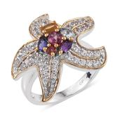 GP Multi Gemstone 14K YG and Platinum Over Sterling Silver Ring (Size 9.0) TGW 3.010 cts.