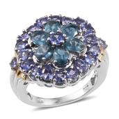 Teal Kyanite, Tanzanite 14K YG and Platinum Over Sterling Silver Ring (Size 6.0) TGW 5.50 cts.