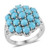 Arizona Sleeping Beauty Turquoise Platinum Over Sterling Silver Openwork Cluster Ring (Size 10.0) TGW 5.15 cts.