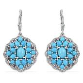 Arizona Sleeping Beauty Turquoise, Tanzanite, White Topaz Platinum Over Sterling Silver Lever Back Cluster Drop Earrings TGW 7.30 cts.