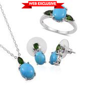 Arizona Sleeping Beauty Turquoise, Russian Diopside Platinum Over Sterling Silver Split Ring (Size 6), Drop Earrings and Pendant With Chain (20 in) TGW 7.7620 Cts.