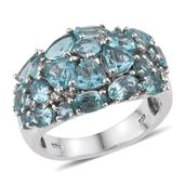Madagascar Paraiba Apatite, White Topaz Platinum Over Sterling Silver Cluster Ring (Size 6.0) TGW 5.36 cts.