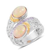 Ethiopian Welo Opal, Tanzanite 14K YG Over and Sterling Silver Ring (Size 10.0) TGW 2.920 cts.