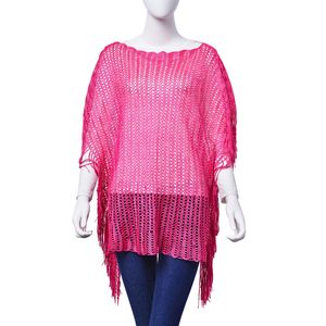 Fuchsia 100% Polyester Poncho (31.5x19.5 in)