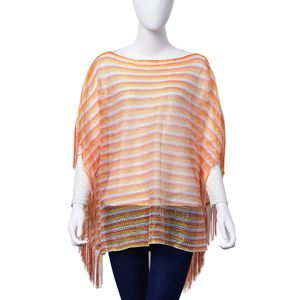 Yellow and Orange 100% Polyester Poncho (35.5x24 in)