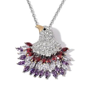 Creature Couture - Multi Color Austrian Crystal Stainless Steel Eagle Pendant With Chain (20 in)