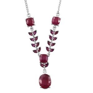 Niassa Ruby, Orissa Rhodolite Garnet, White Topaz Platinum Over Sterling Silver Princess Necklace (18 in) TGW 11.700 Cts.