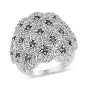 Bekily Color Change Garnet, White Zircon Platinum Over Sterling Silver Cluster Ring (Size 5.0) TGW 2.85 cts.