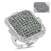 Bekily Color Change Garnet, White Zircon Platinum Over Sterling Silver Ring (Size 7.0) TGW 5.400 cts.