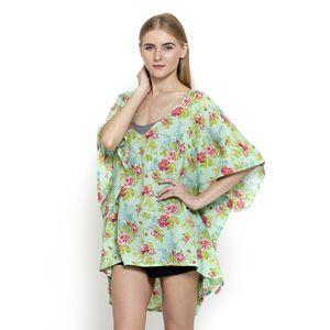 Seafoam Floral Print 100% Cotton Kimono (37x29 in)