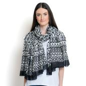 Black and White 100% Cotton Scarf (70x39 in)