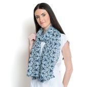J Francis - Blue and White 100% Cotton Scarf (70x47 in)