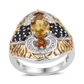 Marialite, Santa Ana Madeira Citrine, Thai Black Spinel 14K YG and Platinum Over Sterling Silver Openwork Ring (Size 7.0) TGW 3.52 cts.