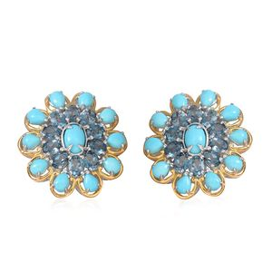 Arizona Sleeping Beauty Turquoise, London Blue Topaz 14K YG Over and Sterling Silver Floral Cluster Drop Earrings TGW 8.150 Cts.