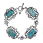 Bali Legacy Collection Larimar Sterling Silver Bracelet (7.50 In) TGW 38.100 cts.