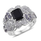 Kanchanaburi Blue Sapphire, Tanzanite, White Topaz Platinum Over Sterling Silver Statement Ring (Size 7.0) TGW 6.16 cts.