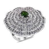 Russian Diopside, Bekily Color Change Garnet Platinum Over Sterling Silver Ring (Size 7.0) TGW 5.70 cts.