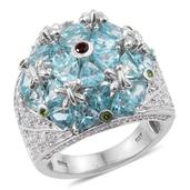 Madagascar Paraiba Apatite, Multi Gemstone Platinum Over Sterling Silver Ring (Size 7.0) TGW 7.050 cts.