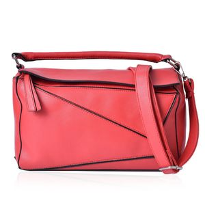 Red Faux Leather Geometric Patchwork Satchel Barrel Bag (12x5x7 in) with Extra Shoulder Strap