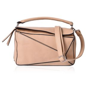 Beige Faux Leather Geometric Patchwork Satchel Barrel Bag (12x5x7 in) with Extra Shoulder Strap