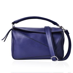 Navy Faux Leather Geometric Patchwork Satchel Barrel Bag (12x5x7 in) with Extra Shoulder Strap