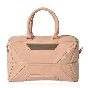 Beige Faux Leather Geometric Detailed Satchel (13.5x5x8 in)