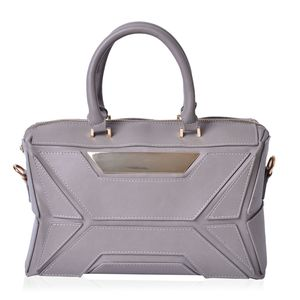 J Francis - Gray Faux Leather Geometric Detailed Satchel (13.5x5x8 in)