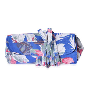 Blue Floral Print Foldable Cosmetic Tool Storage Bag (11x5 in)