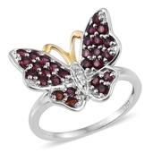 Creature Couture - Anthill Garnet, Diamond Accent 14K YG and Platinum Over Sterling Silver Butterfly Ring (Size 7.0) TGW 1.79 cts.
