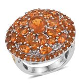 Jalisco Cherry Fire Opal 14K YG and Platinum Over Sterling Silver Cluster Ring (Size 8.0) TGW 4.40 cts.
