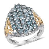 Cambodian Blue Zircon, White Topaz 14K YG and Platinum Over Sterling Silver Ring (Size 6.0) TGW 6.000 cts.