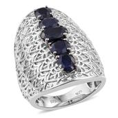 Kanchanaburi Blue Sapphire Platinum Over Sterling Silver Elongated Engraved Ring (Size 7.0) TGW 6.09 cts.