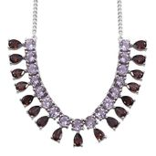 Rose De France Amethyst, Umba River Zircon Platinum Over Sterling Silver Necklace (18 in) TGW 19.350 Cts.