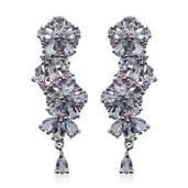 Espirito Santo Aquamarine, Madagascar Pink Sapphire Platinum Over Sterling Silver Earrings TGW 5.700 Cts.