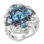 Swiss Blue Topaz, Tanzanite 14K YG and Platinum Over Sterling Silver Openwork Ring (Size 6.0) TGW 8.04 cts.
