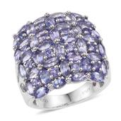 Stefy Tanzanite, Madagascar Pink Sapphire Platinum Over Sterling Silver Statement Cluster Ring (Size 6.0) TGW 6.90 cts.